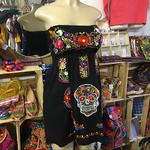 Sugar Skull Dress Strapless Colorful Embroidery